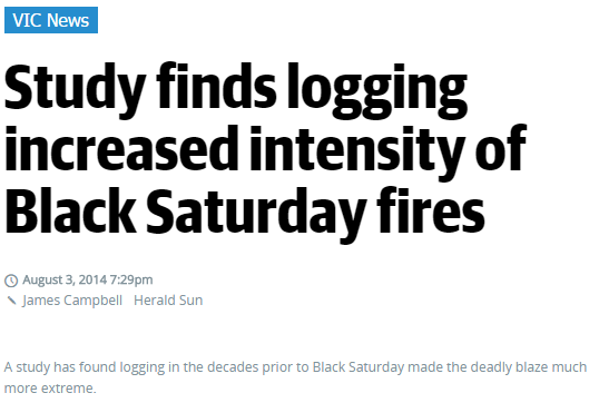 'Study finds logging increased intensity of Black Saturday fires' by James Campbell, The Herald Sun, 3 August 2014