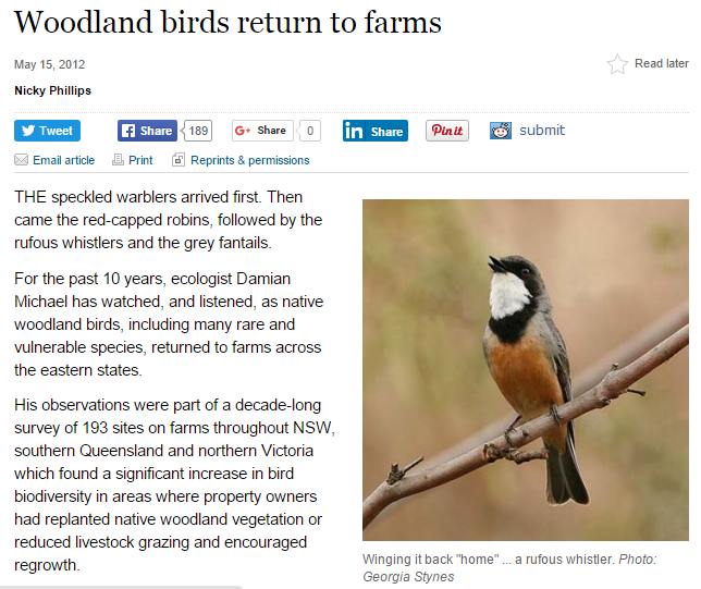 'Woodland birds return to farms' by Nicky Phillips, The Sydney Morning Herald, 12 May 2012