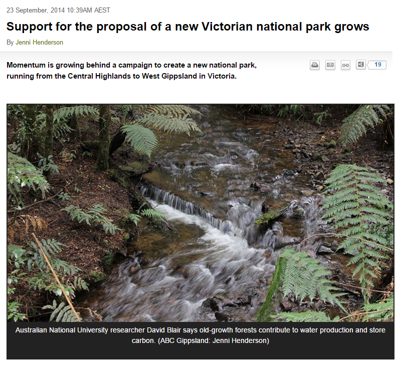 Dave Blair   stresses the importance of conserving the area as soon as possible, ABC Gippsland, 23 September 2014