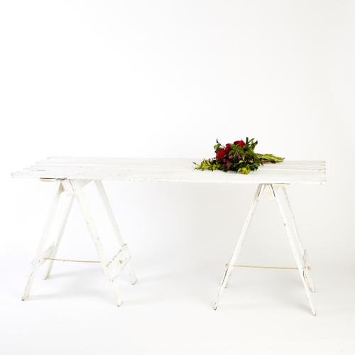 Reclaimed Timber Trestle table - White