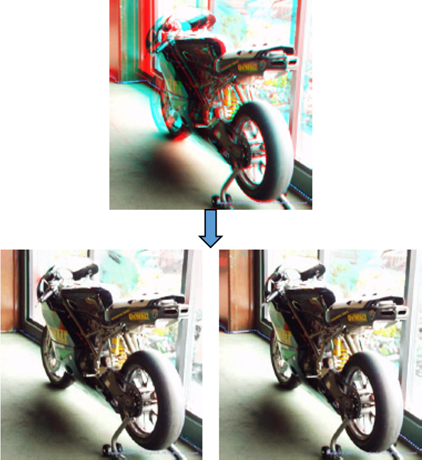 Recovering stereo pairs from anaglyphs