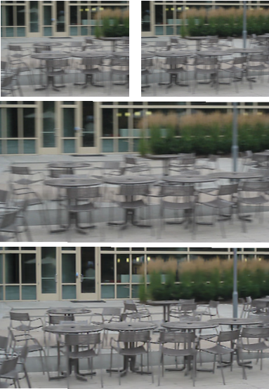 Generating sharp panoramas from motion-blurred videos