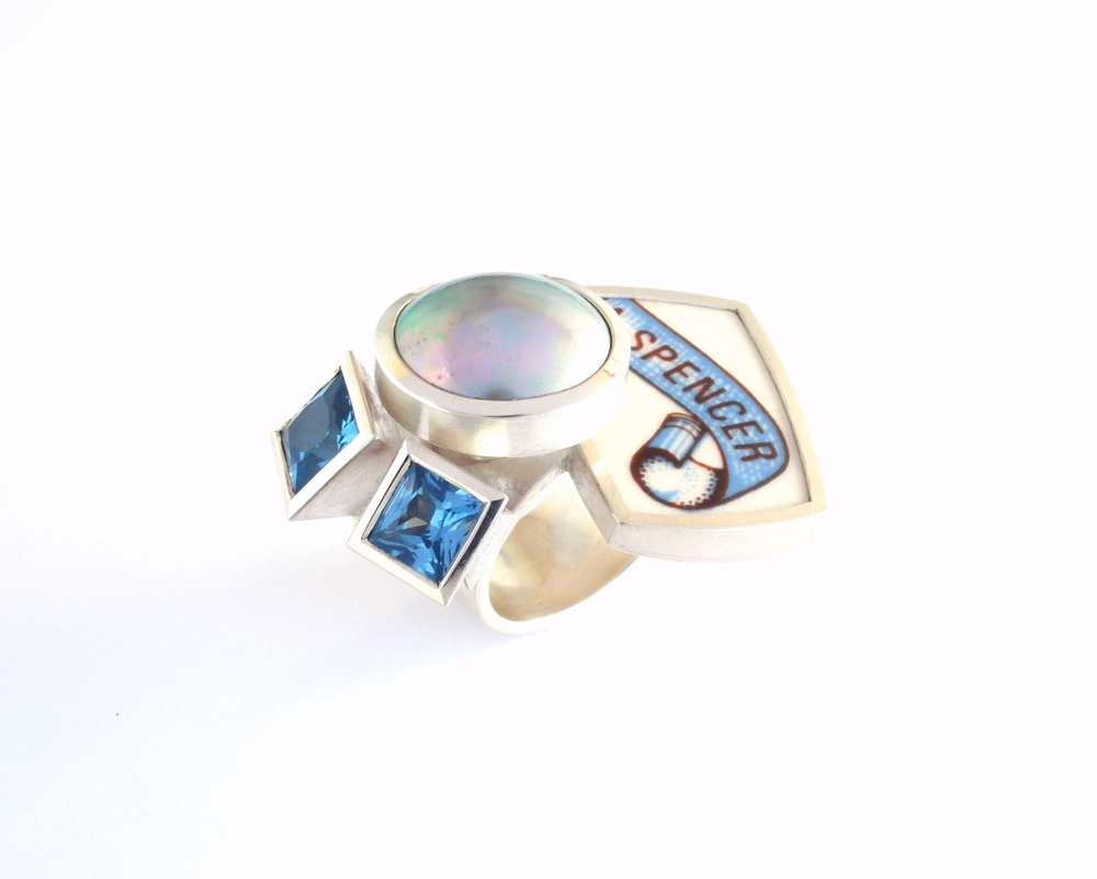 M721 Ring by Marcus Foley 2014 - 925 silver, MAPA pearl, synthetic sapphire, reclaimed ceramic (in stock)