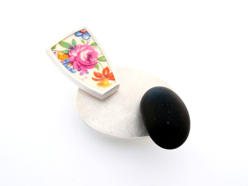 M708 Brooch by Marcus Foley 2014 - 925 silver, reclaimed ceramic, beach pebble, stainless steel (in stock)