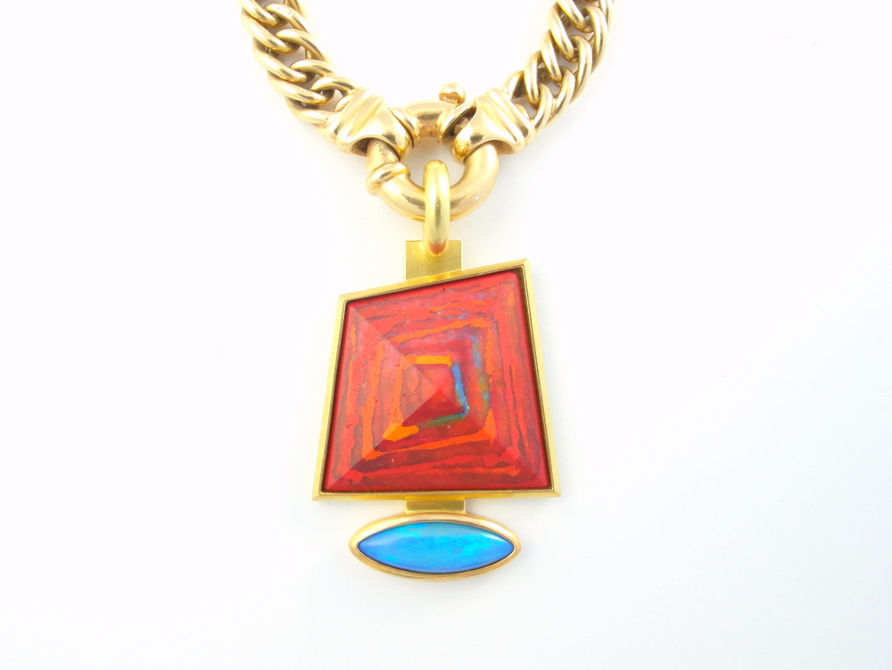 June's pendant 2013 - 18ct yellow gold, enamel, turquoise (Private collection)