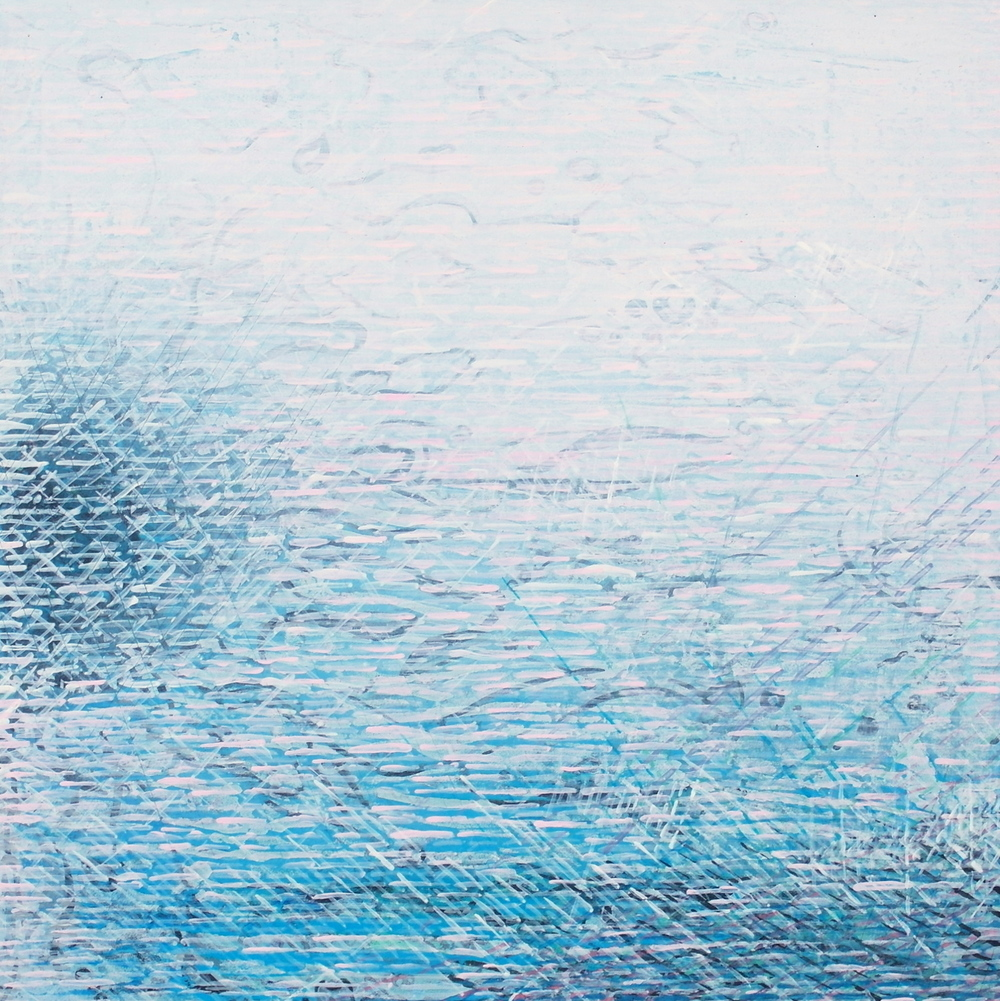 'Aqua' -  Across & Beneath by Dore Stockhausen - 210mm x 210mm, acrylic on board - 2015. $̶3̶2̶5̶,̶-̶  Sold