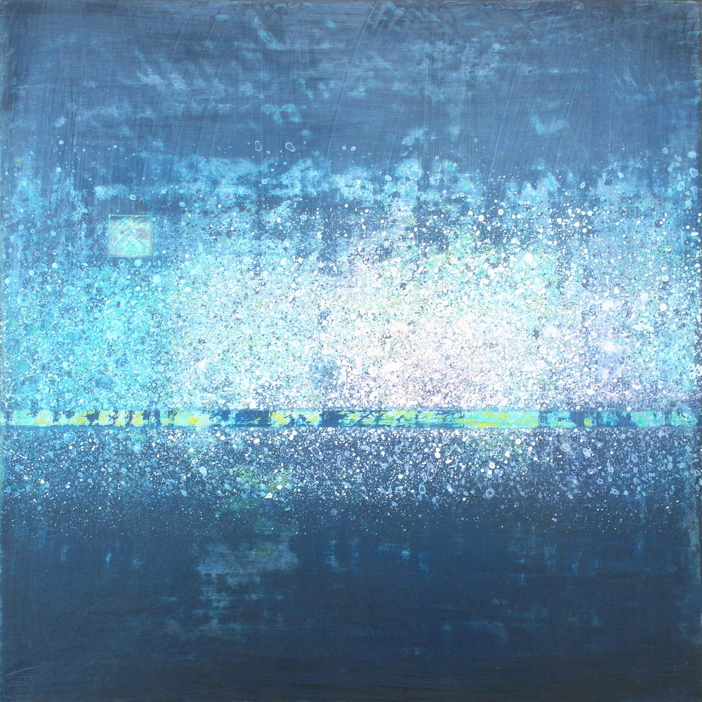 'Dark Waters' - Across & Beneath by Dore Stockhausen - 305mm x 305mm, acrylic on board - 2015. $260,-
