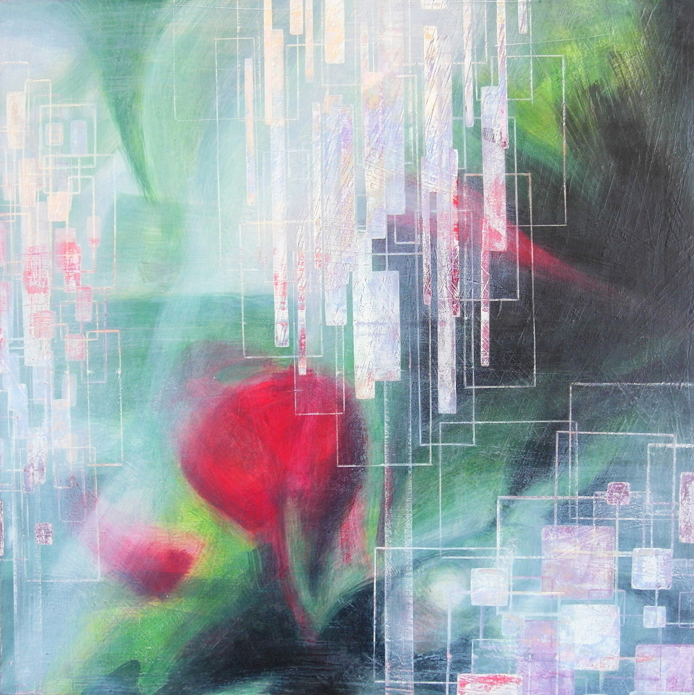 'Flaming Spring Green' - Spring Bloom by Dore Stockhausen - 600mm x 600mm, acrylic on canvas - 2015. $1,500,-