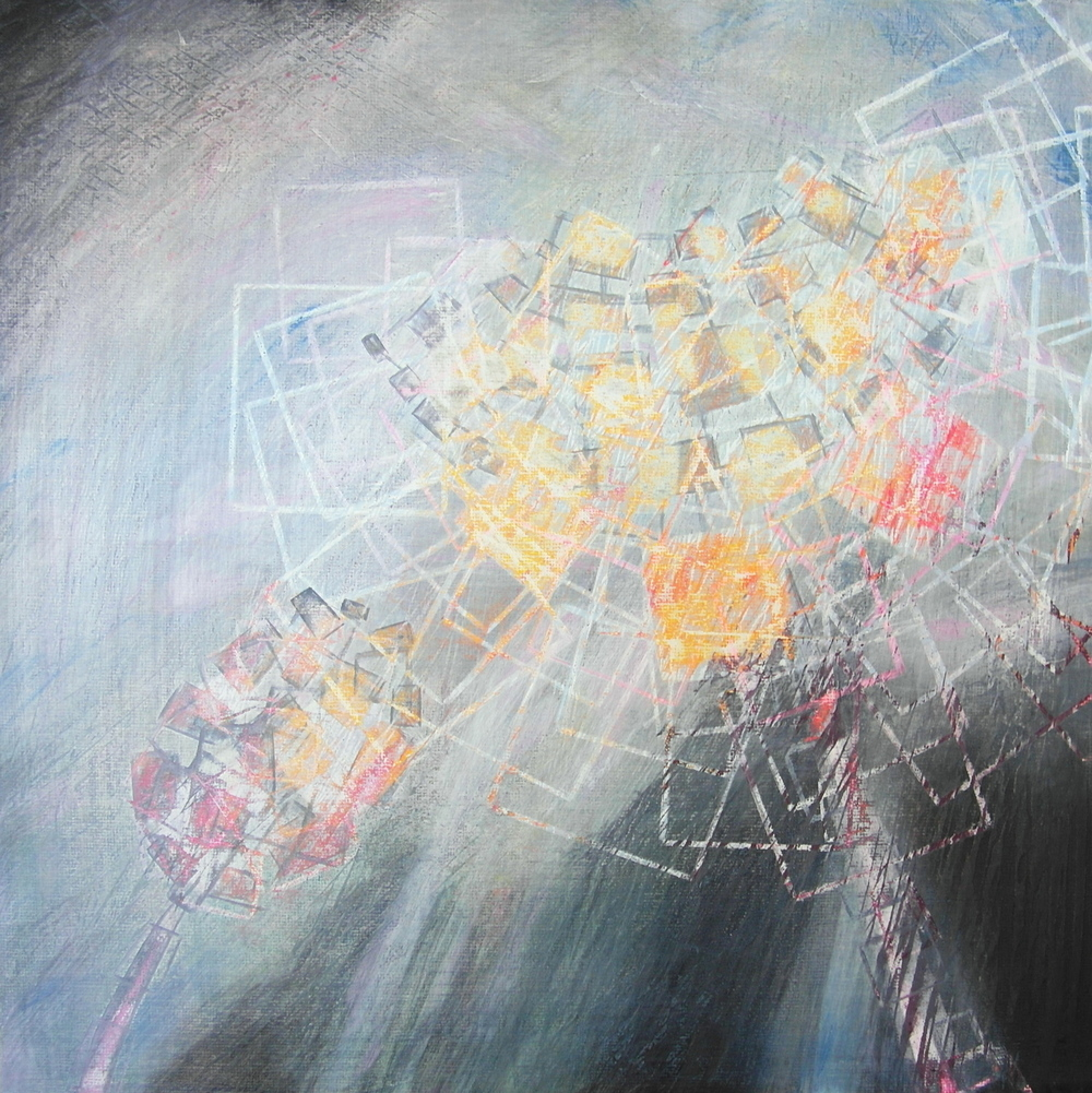 'Flaming Hero' - Spring Bloom by Dore Stockhausen - 305mm x 305mm, acrylic on canvas board - 2015. $400,-