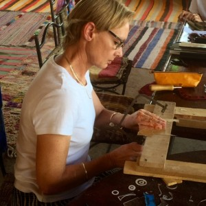 Carole at work, jewellery tour 2015.
