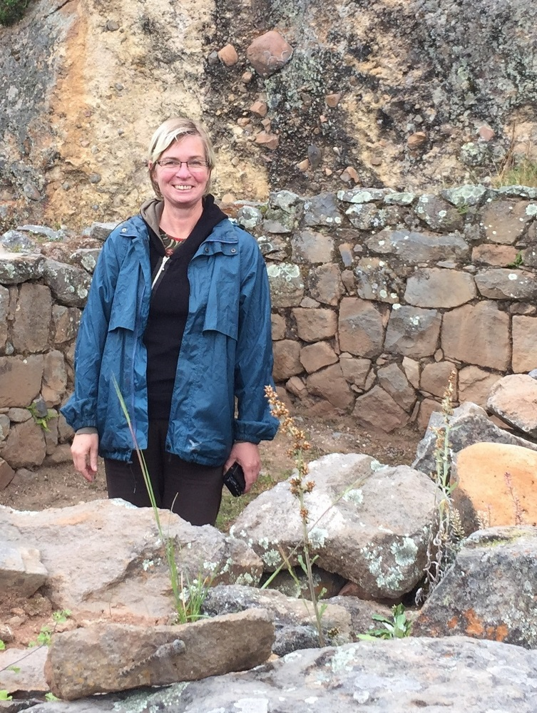 Dore visiting an archaeological site near Vilcashuamán.
