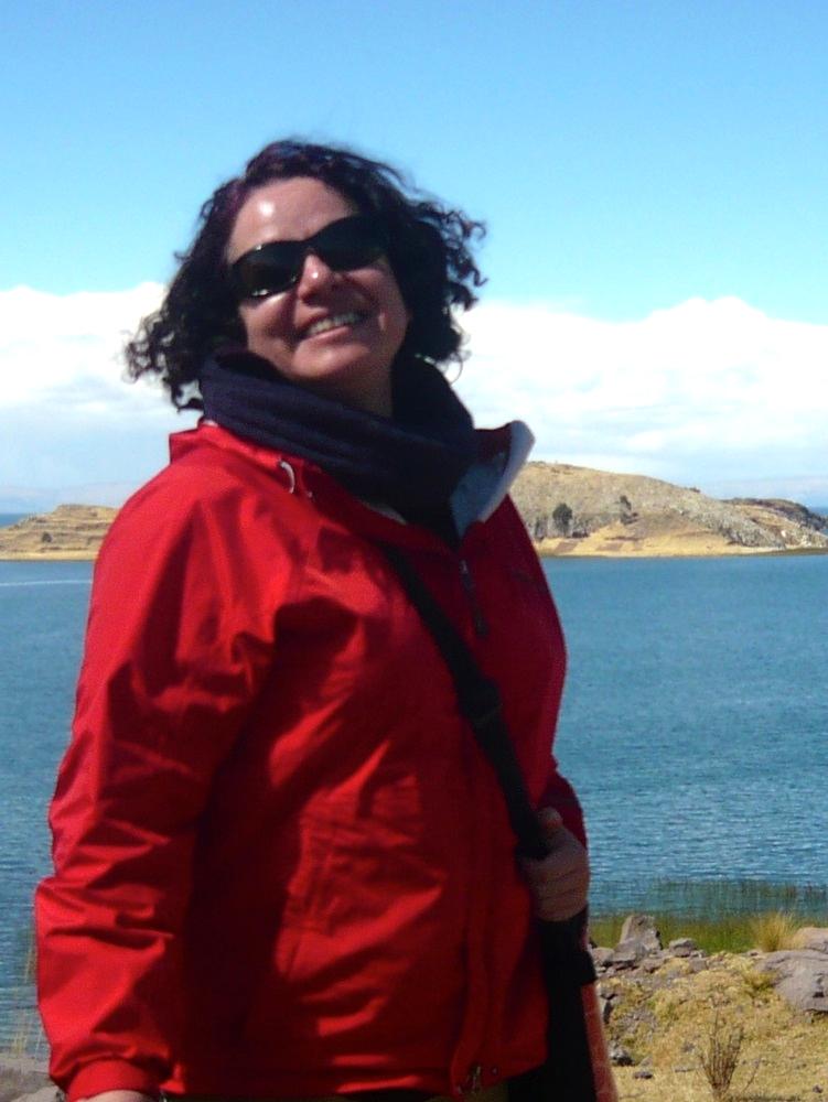 Ximena at Lake Titicaca.