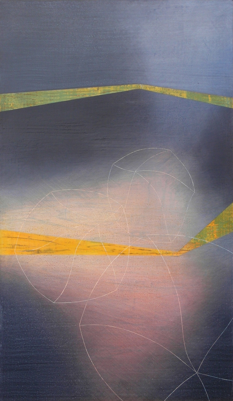 'moonlit I'- from 'point, pace and flow' by Dore Stockhausen, 2016 - 350mm W x 600mm H. acrylic on canvas on dibond. $̶6̶5̶0̶,̶-̶  Sold