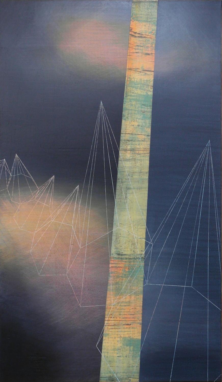 'moonlit II'- from 'point, pace and flow' by Dore Stockhausen, 2016 - 350mm W x 600mm H. acrylic on canvas on dibond.$̶6̶5̶0̶,̶-̶  Sold