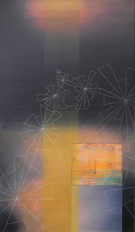 'moonlit III'- from 'point, pace and flow' by Dore Stockhausen, 2016 - 350mm W x 600mm H. acrylic on canvas on dibond.$̶6̶5̶0̶,̶-̶  Sold