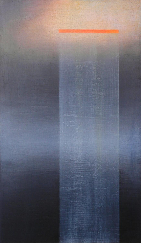 'moonlit V'- from 'point, pace and flow' by Dore Stockhausen, 2016 - 350mm W x 600mm H. acrylic on canvas on dibond.$̶6̶0̶0̶,̶-̶ Sold