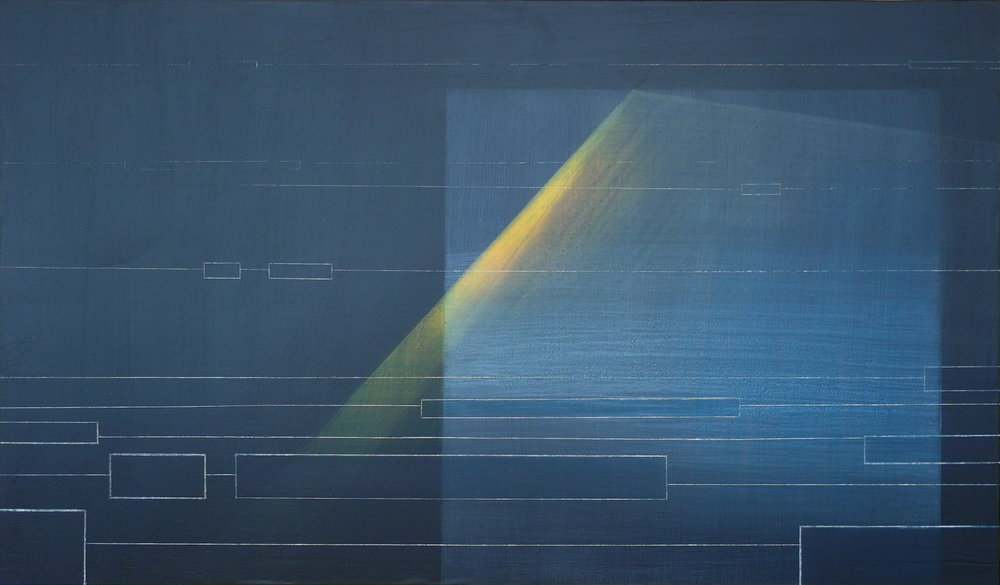'towards midnight I' - from 'point, pace and flow' by Dore Stockhausen, 2016 - 600mm W x 350mm H. acrylic on canvas on dibond. $600,-