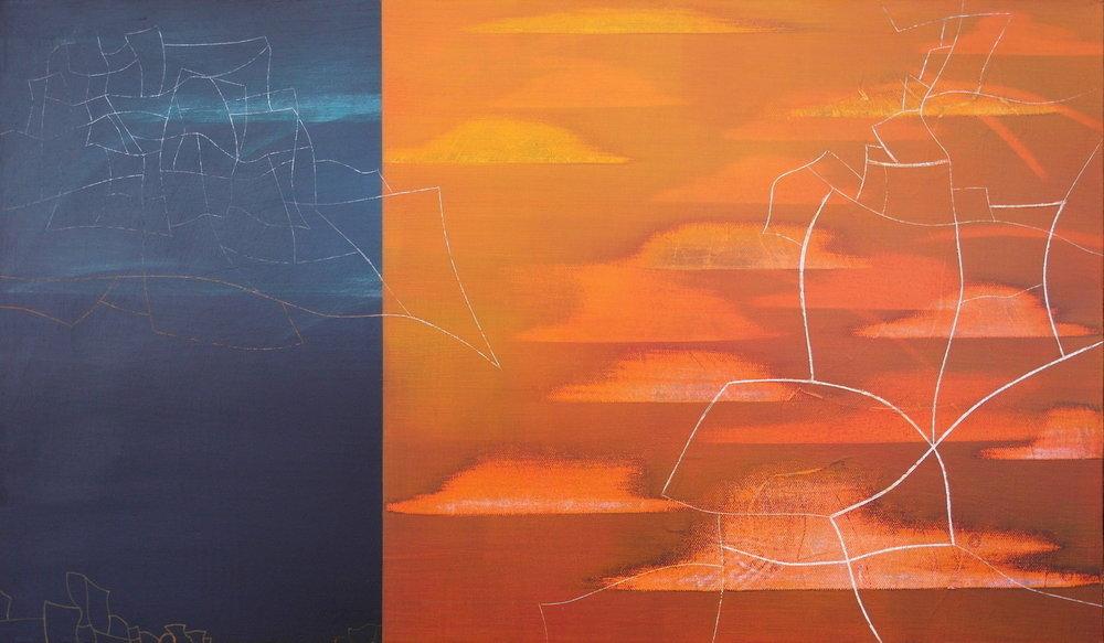 'towards midnight IV' - from 'point, pace and flow' by Dore Stockhausen, 2016 - 600mm W x 350mm H. acrylic on canvas on dibond.$̶6̶0̶0̶,̶-̶ Sold