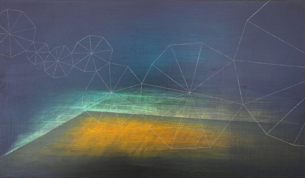 'towards midnight VI' - from 'point, pace and flow' by Dore Stockhausen, 2016 - 600mm W x 350mm H. acrylic on canvas on dibond. $600,-