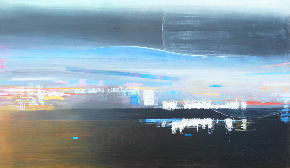 'towards midnight VIII' - from 'point, pace and flow' by Dore Stockhausen, 2016 - 600mm W x 350mm H. acrylic on canvas on dibond. $600,-