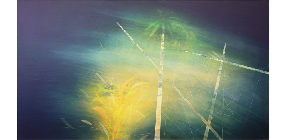 'behind the dunes IV' - from 'point, pace and flow' by Dore Stockhausen, 2016 - 90cm W x 50cm H. acrylic on canvas on dibond. $1,800,-