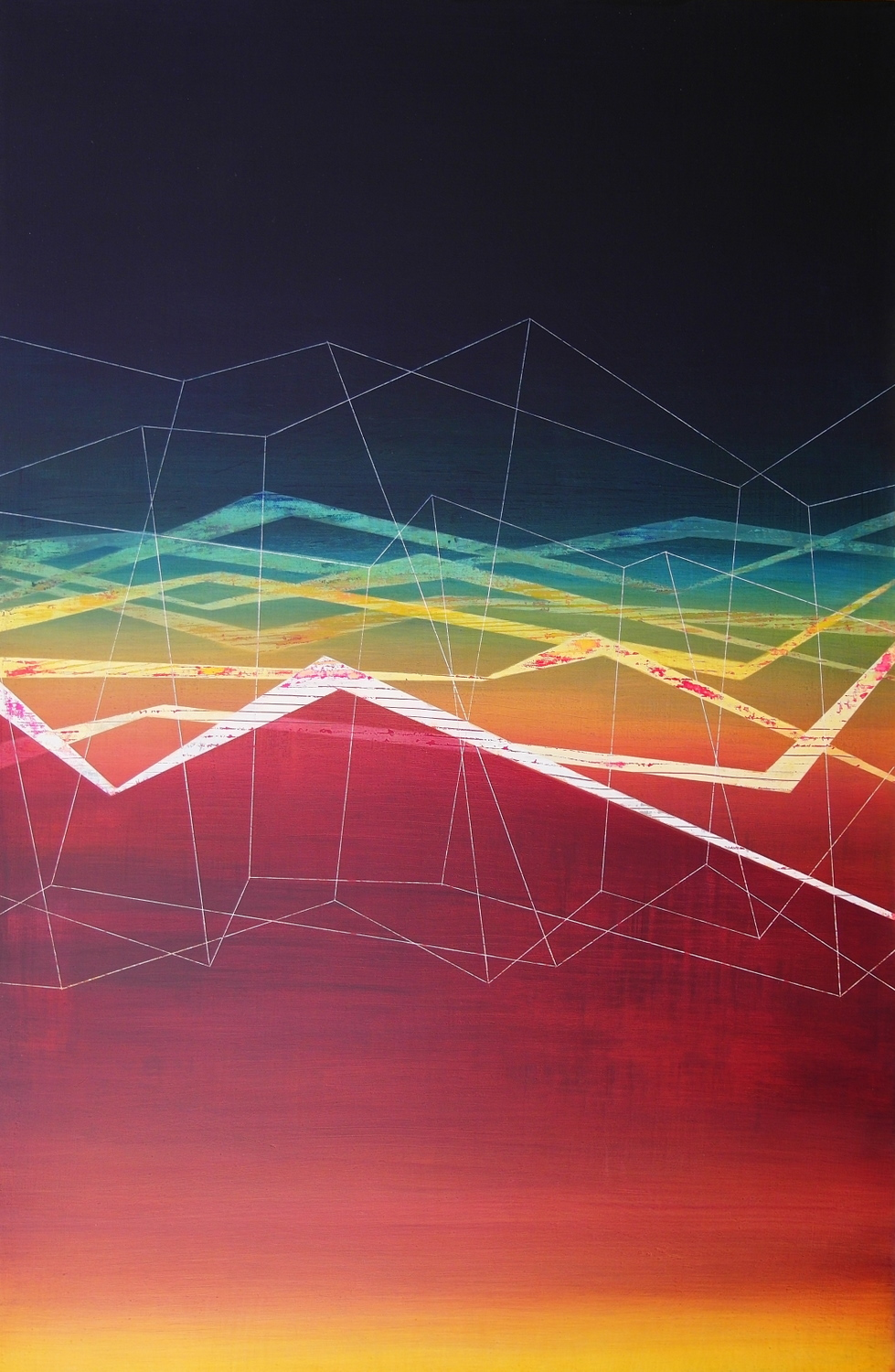 'behind the dunes VI' - from 'point, pace and flow' by Dore Stockhausen, 2016 - 520mm W x 800mm H. acrylic on canvas on dibond. $1,500,-