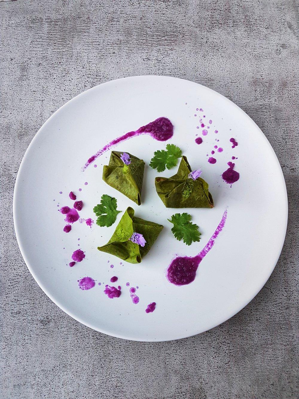 Raw Vegan Kimchi Dumplings