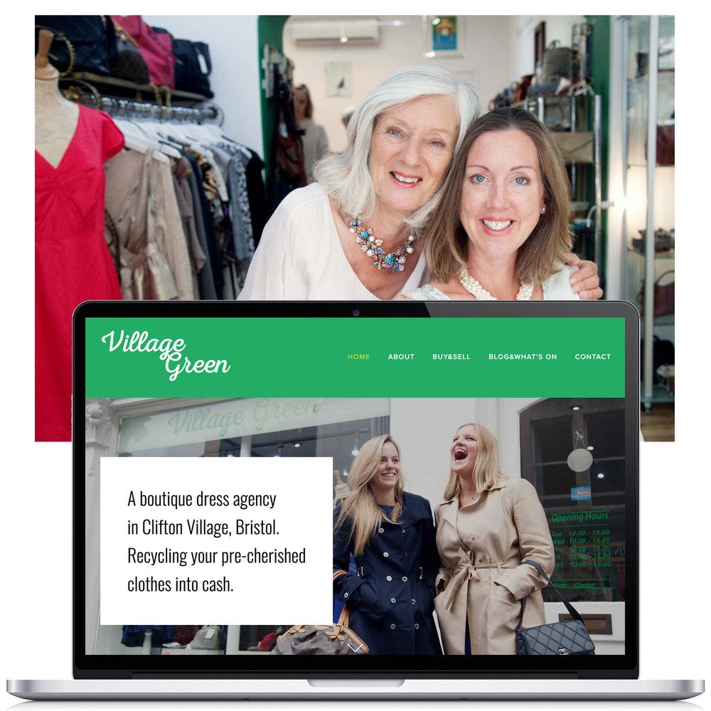 Squarespace Website Design for Village Green, a boutique in Bristol, UK