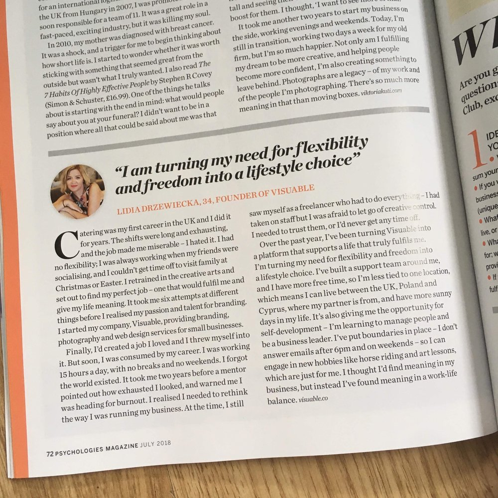 Lidia Drzewiecka, Creative Director at Visuable talks about work life balance in Psychologies Magazine