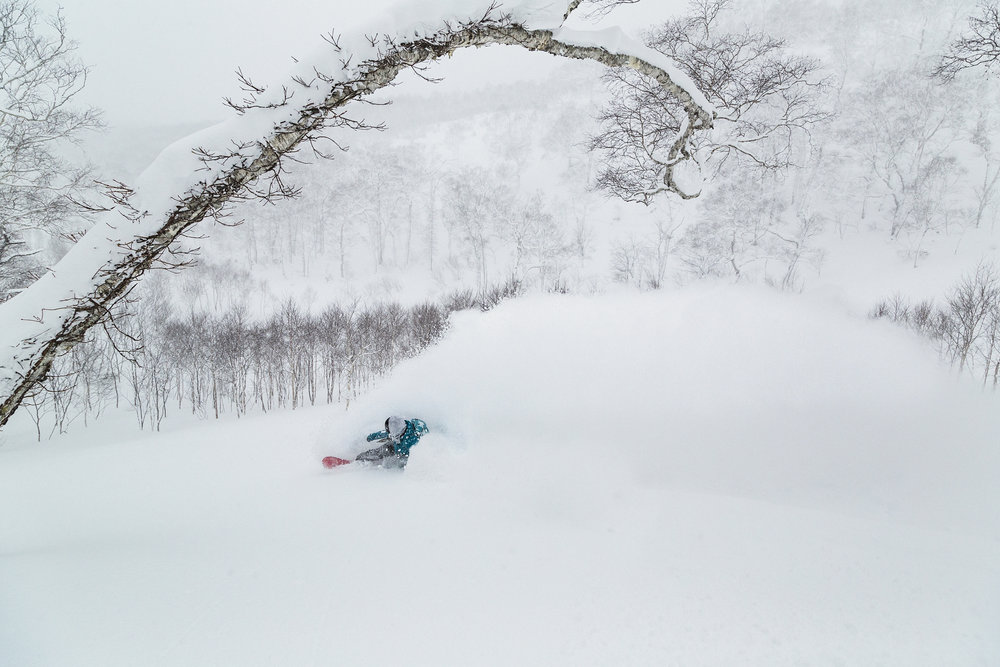 Jenny Jones snowboarding in Japan