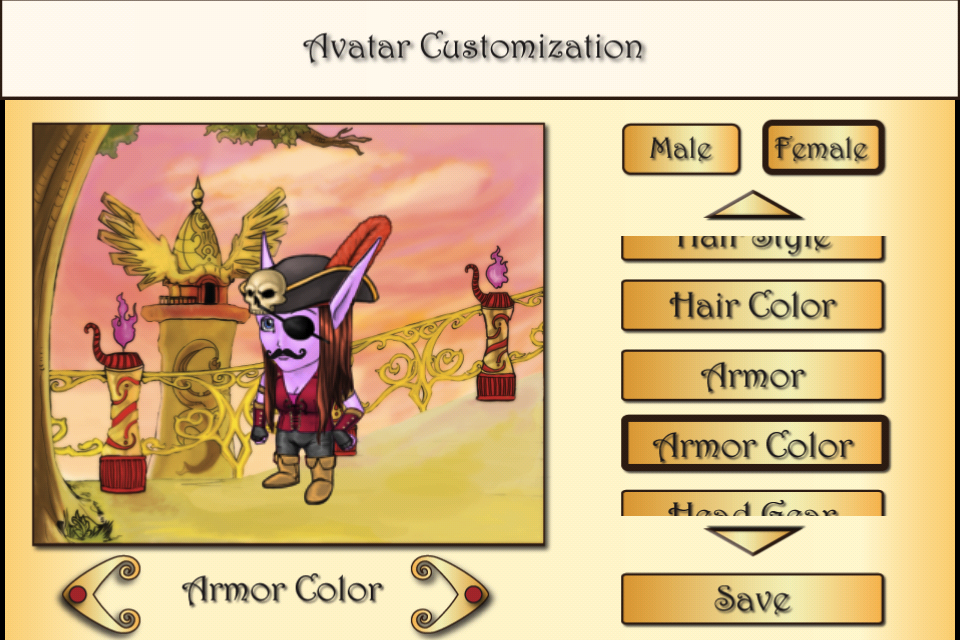 Avatar Design Screen