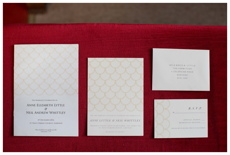 Anne and Neil's wedding stationary was designed and printed by  Papier