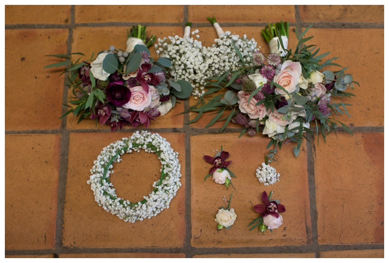 Sally's Floral Studio, Ballymena  created the bouquets, floral headpieces and men's corsages