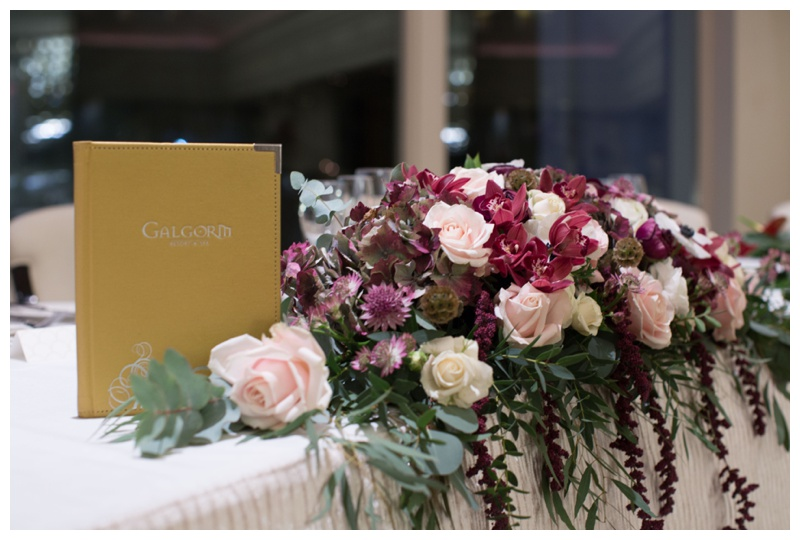 Sally's Floral studio  also created the stunning floral table pieces at The Galgorm.