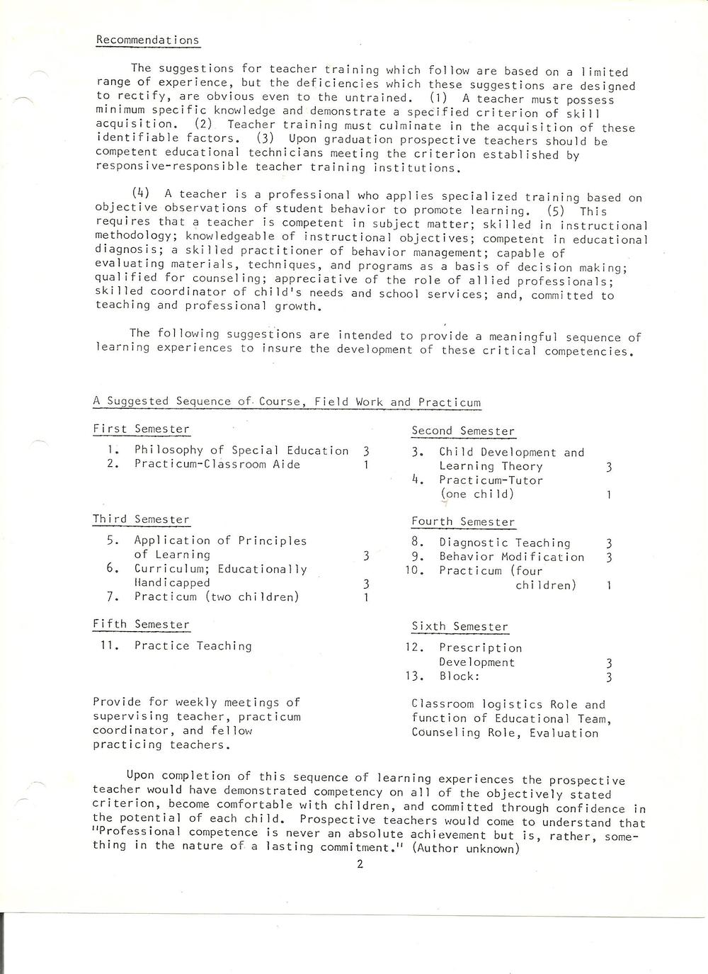 project descriptions proposals actions teacher eduction this paper was written in 1971 during the time frame associated my graduate studies in special education at the university of missouri columbia