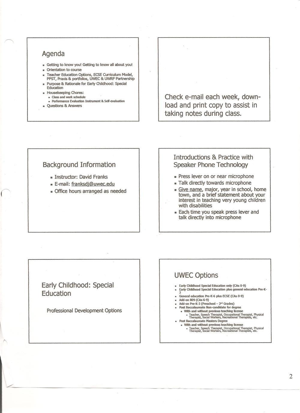 Instructional Presentations A Teacher Educators Notes Early