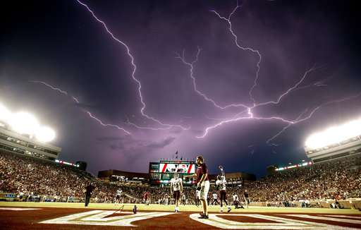 Lightning above a college football game held in Tallahassee, Fla.