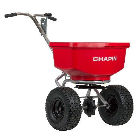 8400C 100lb. Professional Turf Spreader     https://chapinmfg.com/Product/slug/chapin-8400C-100-pound-professional-spreader-with-stainless-steel-frameframe