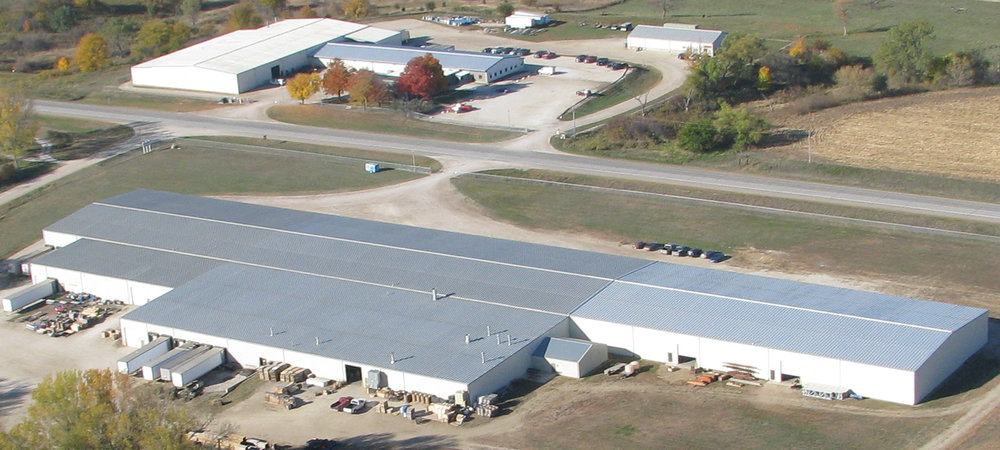 An aerial view of the R.J. Thomas Mfg. buildings in 2013.