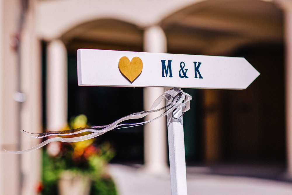 Wedding Ceremony Signs with ribbons and gold heart