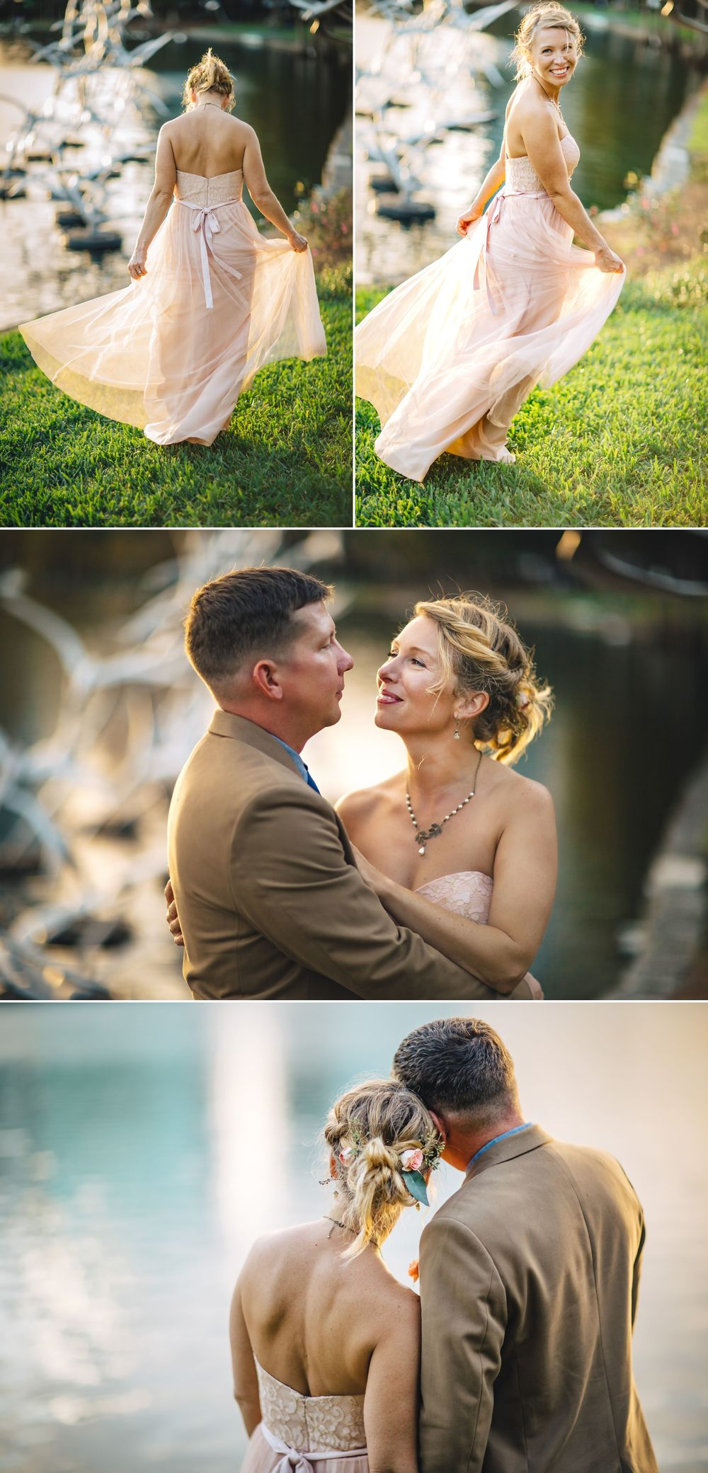 Sunset Romantic Orlando Wedding Photos at Lake Eola in BHLDN Gown.jpg