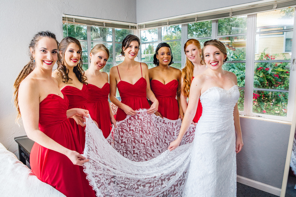 Downtown Orlando Wedding at Lake Lucerne Christmas Theme Red Dress Navy Suits 040.jpg