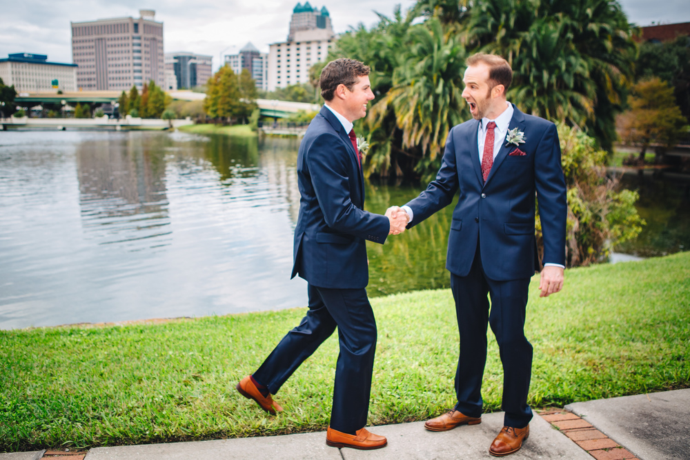 Downtown Orlando Wedding at Lake Lucerne Christmas Theme Red Dress Navy Suits 093.jpg