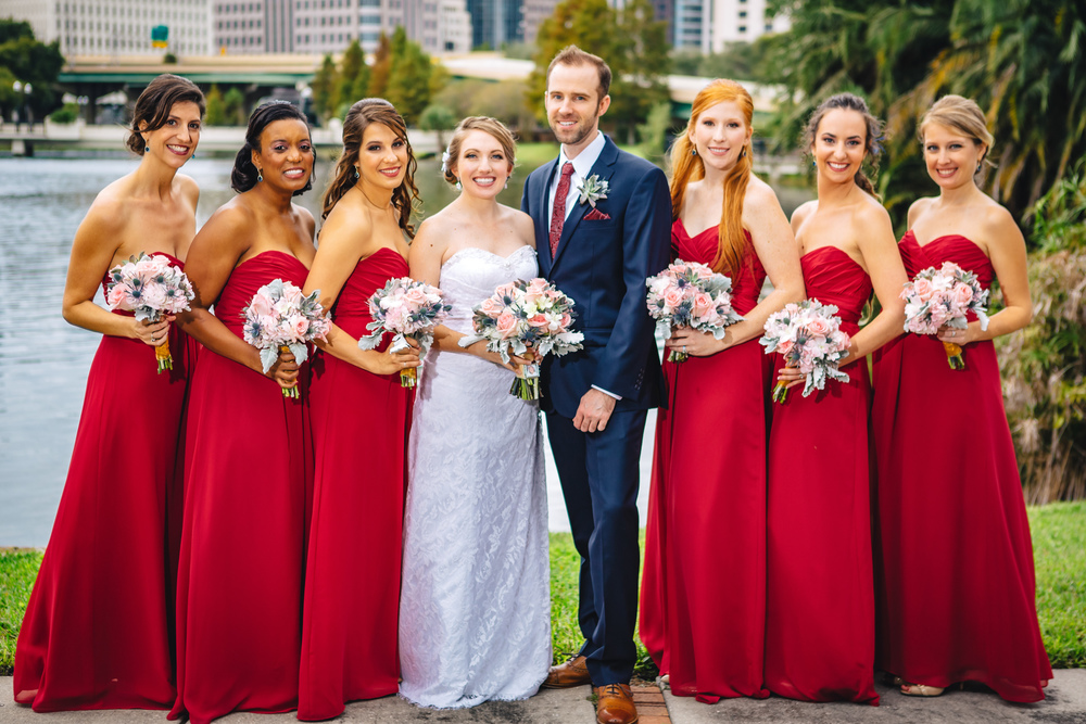 Downtown Orlando Wedding at Lake Lucerne Christmas Theme Red Dress Navy Suits 097.jpg