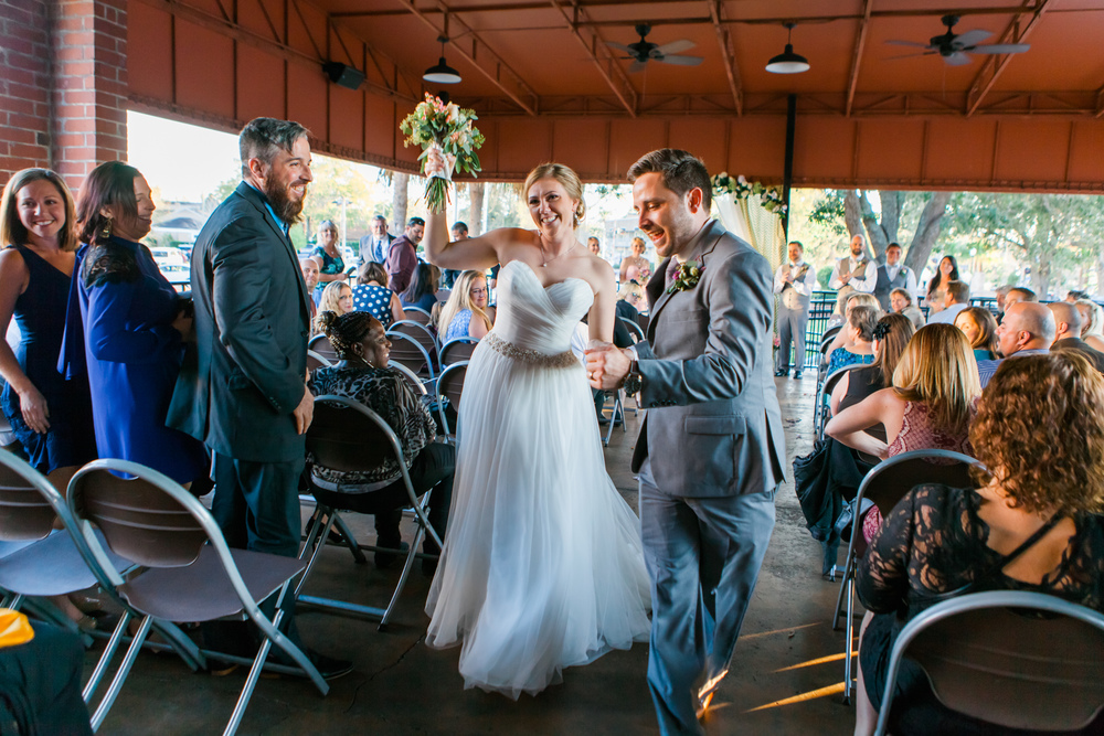 Winter Park Farmer's Market Wedding- Michael & Megan Fine Art Wedding Purple echeveria eucalyptus rose florals dancing aisle1.jpg