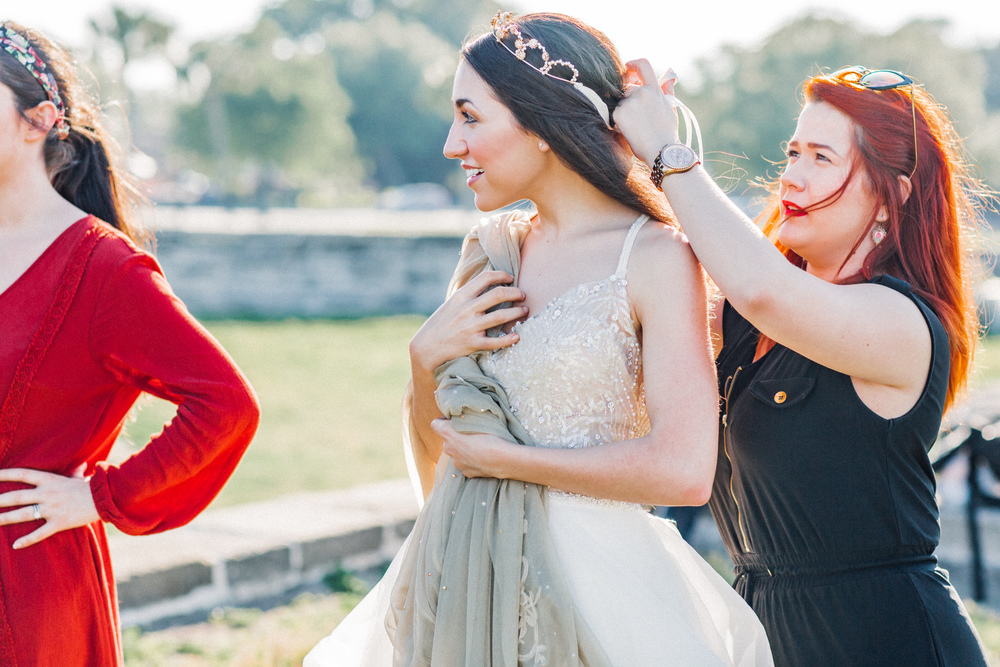Stylist Akili Phillips of Sassy A La Mode, Hair/ Makeup by Hopcraft & co, gown by L.A. Bridal: Wtoo Kennedy Gown // Castillo de San Marcos, St. Augustine Florida Wedding