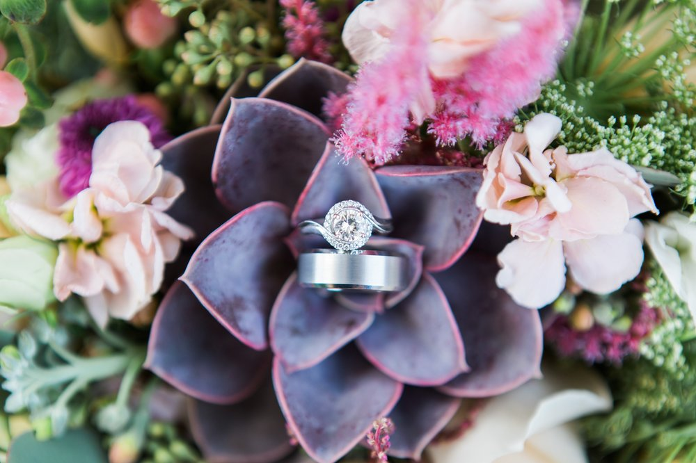 diamond wedding ring bands floral peach purple bouquet photos Winter Park Farmers Market Wedding