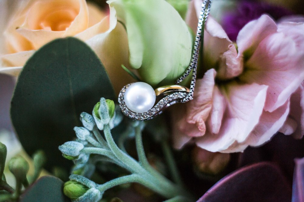 diamond pearl bridal necklace floral peach purple bouquet photos Winter Park Farmers Market Wedding