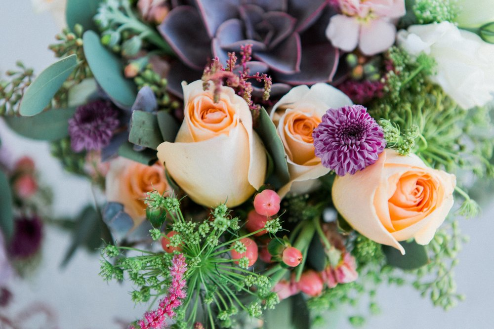 Rustic chic floral peach purple bouquet photos Winter Park Farmers Market Wedding