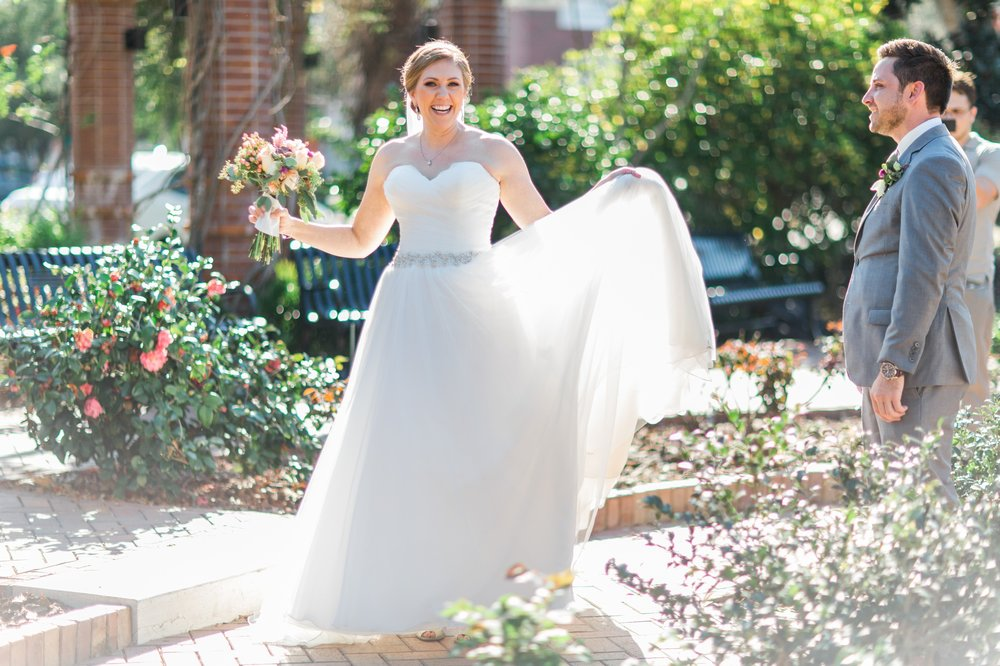 Rustic chic Bride + Groom first look photos Winter Park Farmers Market Wedding
